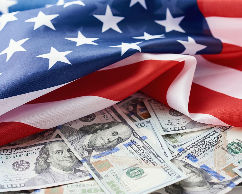 USA national flag and the dollar bills