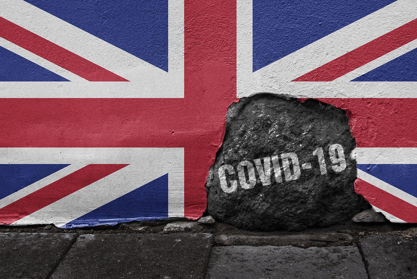 UK flag stuck on a wall